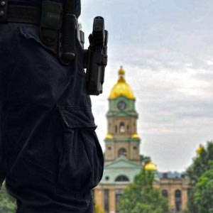 Security forces patrol government property
