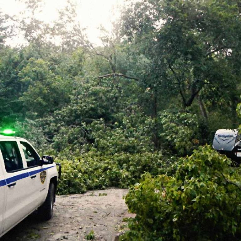TSE officers respond to an emergency scene following severe weather event